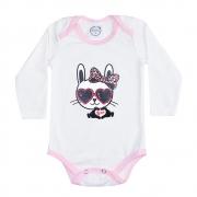 Body Bebê Manga Longa Friso Rosa Cat Pérola
