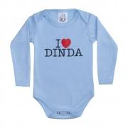 Body Bebê Manga Longa I Love Dinda Azul