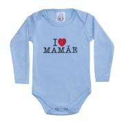 Body Bebê Manga Longa I Love Mamãe Azul
