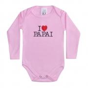 Body Bebê Manga Longa I Love Papai Rosa