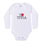 Body Bebê Manga Longa I Love Titia Azul