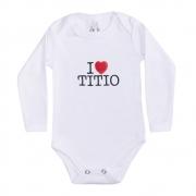 Body Bebê Manga Longa I Love Titio Branco
