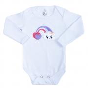Body Bebê Manga Longa Nuvem Branco