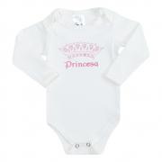 Body Bebê Manga Longa Princesa Pérola