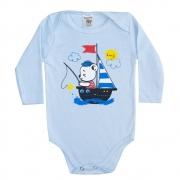 Body Bebê Manga Longa Ursinho Azul