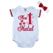 Body Bebê Meu 1° Natal Branco