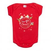 Body Bebê  Meu 1° Natal Vermelho
