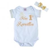 Body Bebê Meu 1° Reveillon Branco
