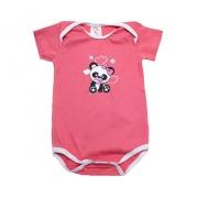 Body Bebê Panda Salmão Com Branco