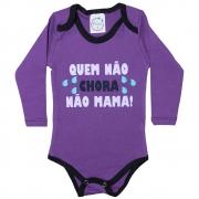 Body Bebê Quem Não Chora Não Mama Roxo