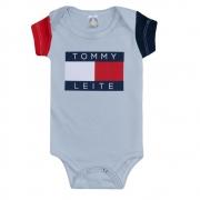 Body Bebê Tommy Leite Cinza