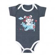 Body Bebê Urso Aviador  Chumbo