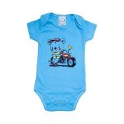 Body Bebê Urso Motoqueiro Azul