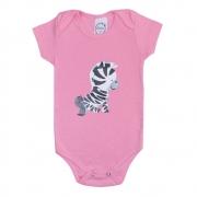 Body Bebê Zebra Rosa