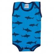 Body Regata Bebê Tubarão Turquesa