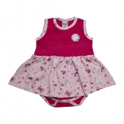 Body Vestido Bebê Com Aplique Pink