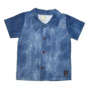 Camisa Bebê Com Botão Azul