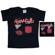 Camiseta Bebê Baiseball Preto