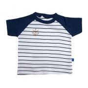 Camiseta Bebê Listrado Marinho com Branco