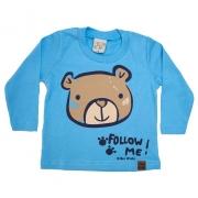 Camiseta Bebê Manga Longa Urso Azul