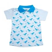 Camiseta Gola Polo Infantil Dino Branco