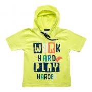 Camiseta Infantil Com Capuz Amarelo