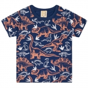 Camiseta Infantil Dinos  Marinho