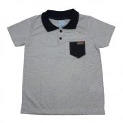 Camiseta Infantil Gola Polo Listras Mescla