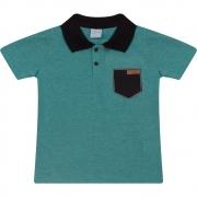 Camiseta Infantil Gola Polo Listras Verde