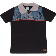 Camiseta Infantil Gola Polo Preta
