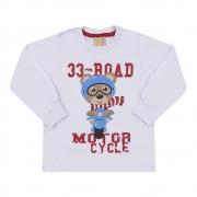 Camiseta Infantil Manga Longa 33 Road Urso Branca