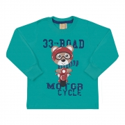 Camiseta Infantil Manga Longa 33 Road Urso Verde
