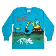 Camiseta Infantil Manga Longa Escavadeira Turquesa