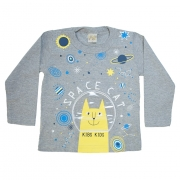 Camiseta Infantil Manga Longa Space Cat Mescla