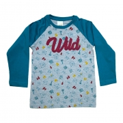Camiseta Infantil Raglã Wild Azul Petróleo