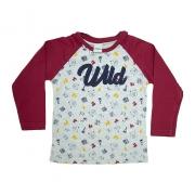 Camiseta Infantil Raglã Wild Bordô