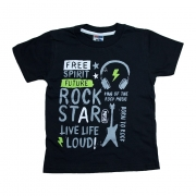 Camiseta Infantil Rock Star  Preto