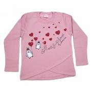 Casaco Infantil Love Pinguim Rosê