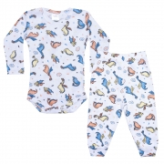 Conjunto Bebê Body Canelado Dinos Branco