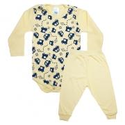 Conjunto Bebê Body Carrinhos  Amarelo e Azul