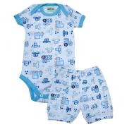 Conjunto Bebê Body Carros Branco e Azul