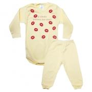 Conjunto Bebê Body Dinda Passou Por Aqui Amarelo Com Rosa