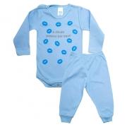 Conjunto Bebê Body Dinda Passou Por Aqui Azul