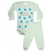 Conjunto Bebê Body Dinda Passou Por Aqui Verde Com Azul