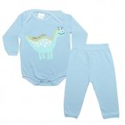 Conjunto Bebê Body Dino Azul