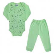 Conjunto Bebê Body Dino Verde