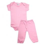 Conjunto Bebê Body e Calça Liso Rosa