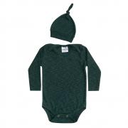 Conjunto Bebê Body e Touca Verde