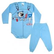 Conjunto Bebê Body Ferramentas  Azul