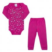 Conjunto Bebê Body Flor e Coração Pink